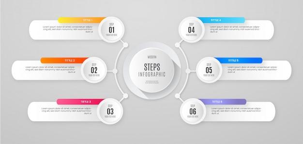 Banner de pasos de infografía limpia vector gratuito