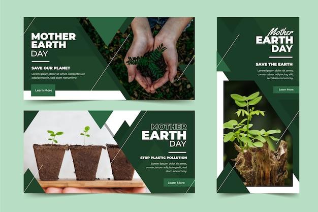 Banner plano del día de la madre tierra vector gratuito