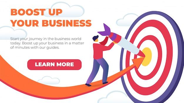 Banner plano horizontal impulsar su negocio. Vector Premium
