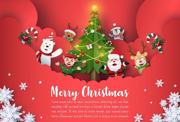 Banner de postal de navidad de santa claus y amigos Vector Premium