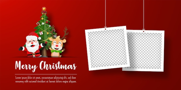 Banner de postal navideña de santa claus y renos con marco de fotos Vector Premium
