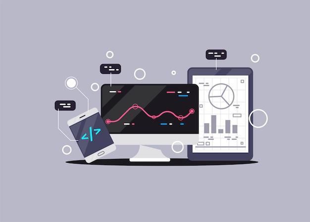 Banner de programación, codificación, mejores lenguajes de programación, concepto de ilustración plana Vector Premium