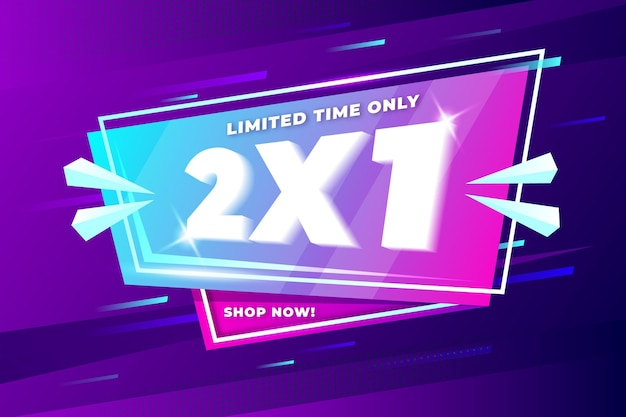 Banner de promoción 2x1 vector gratuito