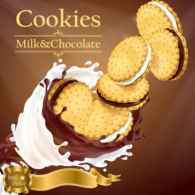 Banner de promoción con galletas realistas volando en leche y salpicaduras de chocolate vector gratuito