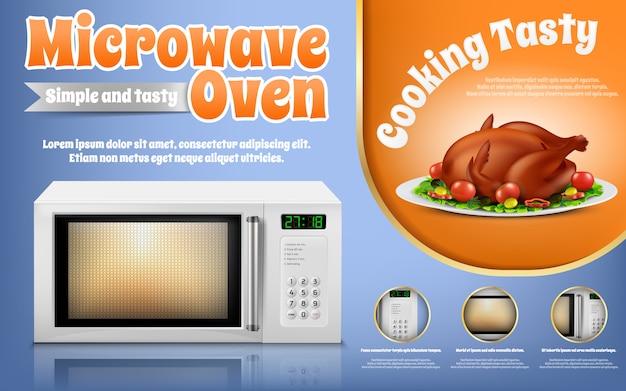 Banner de promoción con horno de microondas blanco realista y pollo asado con verduras vector gratuito