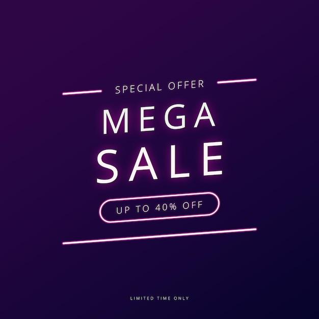 Banner de promoción de mega venta. Vector Premium