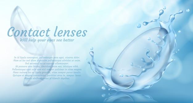 Banner de promoción realista con lentes de contacto en salpicaduras de agua para el cuidado de los ojos vector gratuito
