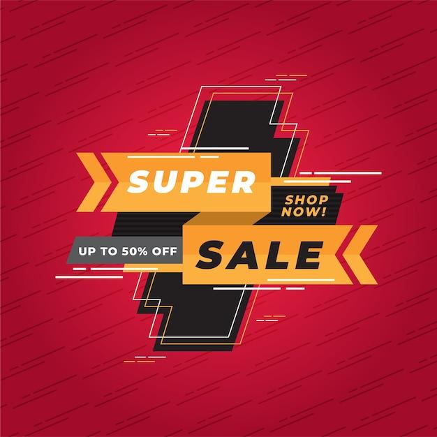 Banner de promoción de super venta abstracta vector gratuito