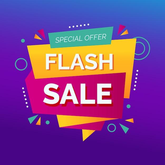 Banner de promoción de venta flash abstracto vector gratuito