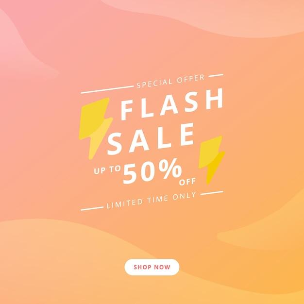Banner de promoción de venta flash. Vector Premium