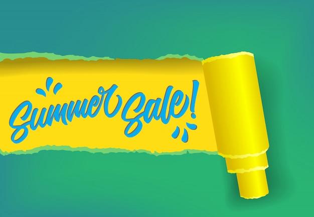 Banner de promoción de venta de verano en colores amarillo, azul y verde. vector gratuito