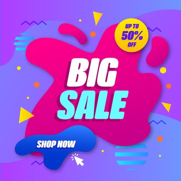 Banner de promoción de ventas abstractas vector gratuito
