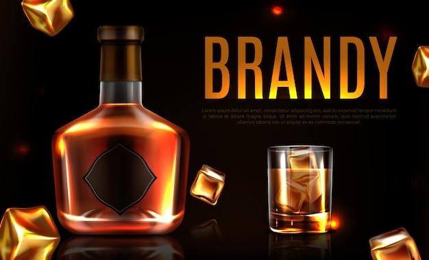 Banner promocional de botella y vaso de brandy vector gratuito