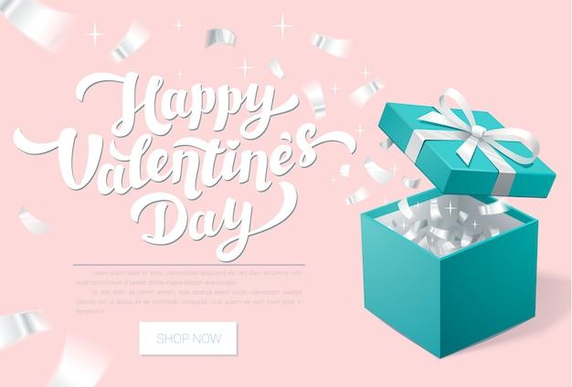 Banner promocional del día de san valentín con caja de regalo abierta y confeti plateado Vector Premium