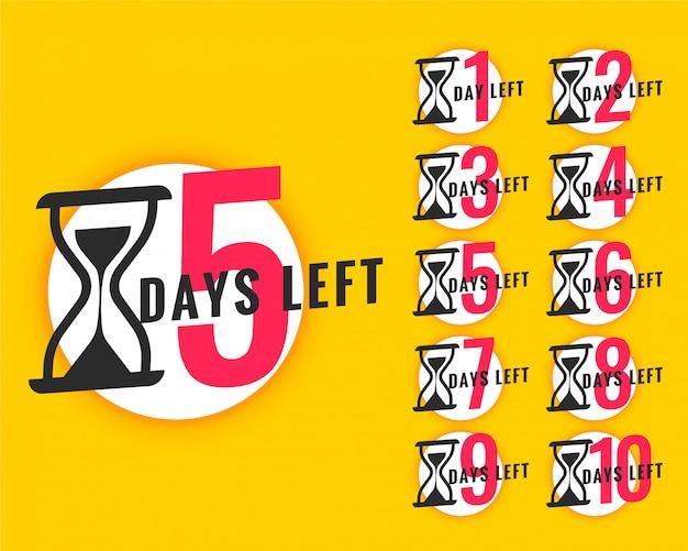 Banner promocional con número de días restantes. vector gratuito