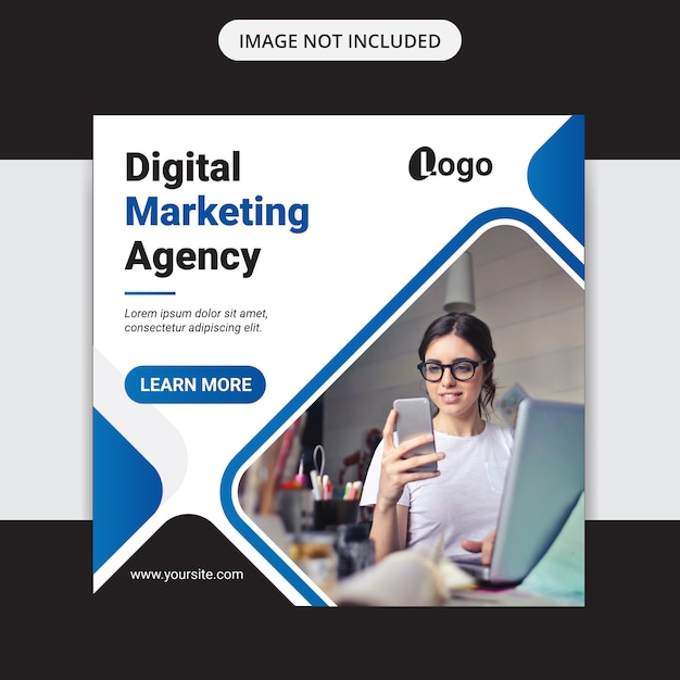 Banner de publicación de medios sociales de marketing de negocios digitales y folleto cuadrado Vector Premium