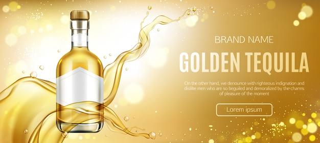 Banner publicitario de botella de tequila dorado vector gratuito