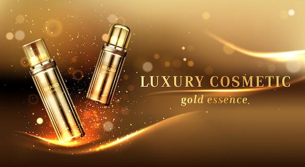 Banner publicitario de botellas de cosméticos de oro, tubos de cosméticos vector gratuito