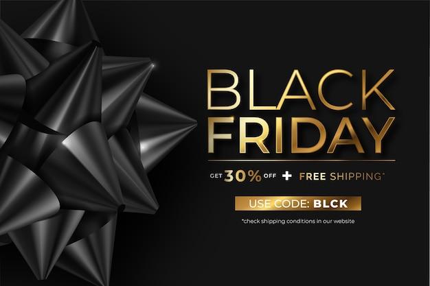 Banner realista de black friday con lazo negro y texto dorado vector gratuito