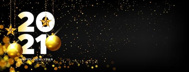 Banner realista feliz año nuevo con decoración dorada vector gratuito