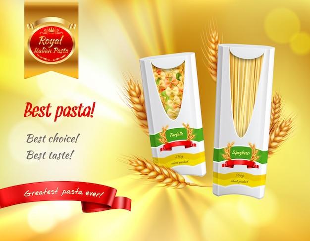 Banner realista de publicidad de pasta de color con la mejor opción de mejor opción de titulares de mejor pasta vector gratuito