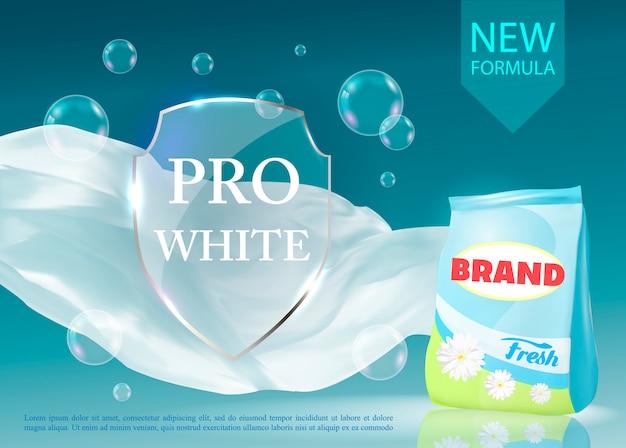 Banner realista vector con detergente para la ropa. Vector Premium