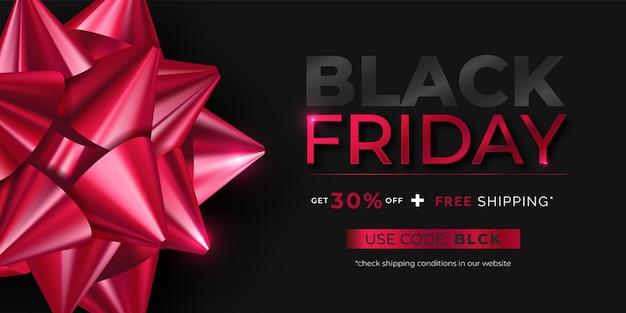 Banner realista de viernes negro con lazo rojo vector gratuito