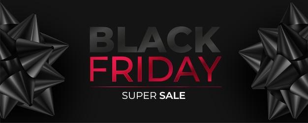 Banner realista de viernes negro con lazos negros vector gratuito