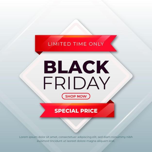 Banner realista de viernes negro vector gratuito