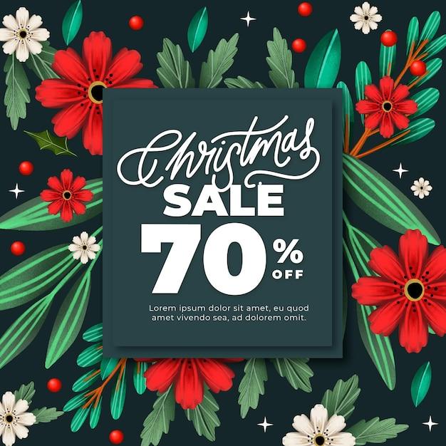 Banner de rebajas de navidad en acuarela con flores vector gratuito