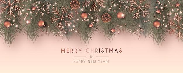 Banner de rebajas de navidad realista con adornos de rosas doradas vector gratuito