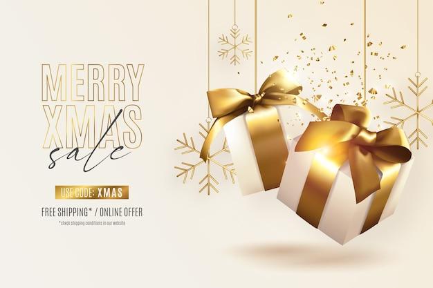 Banner de rebajas de navidad realista con regalos dorados vector gratuito