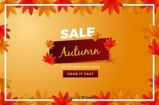 Banner de rebajas de otoño en diseño plano vector gratuito