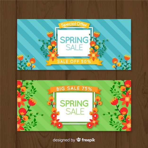 Banner de rebajas de primavera en diseño plano vector gratuito
