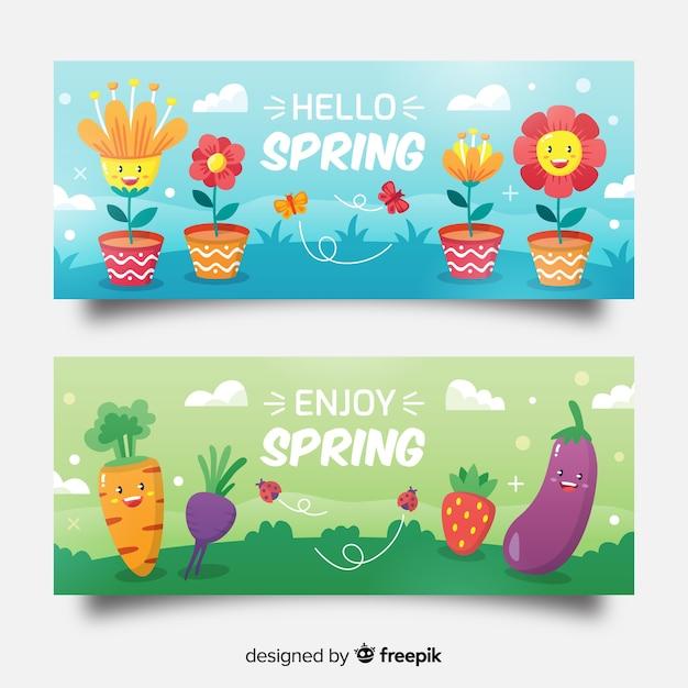 Banner rebajas primavera elementos animados vector gratuito