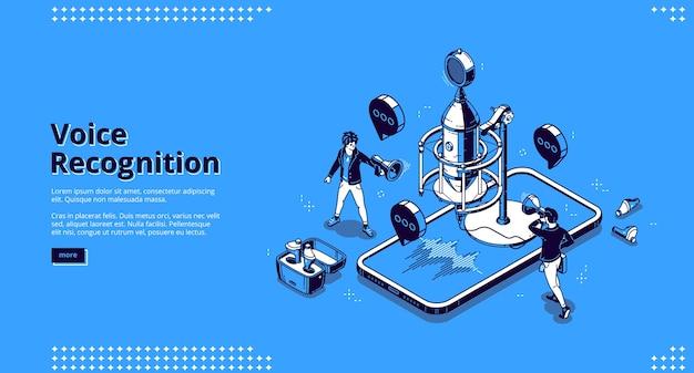 Banner de reconocimiento de voz. tecnologías de ia para grabar sonido, dictar mensajes y hablar. página de inicio con ilustración isométrica de micrófono, teléfono inteligente con ondas sonoras y personas vector gratuito