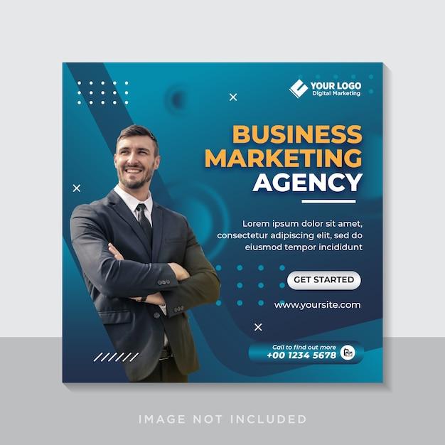 Banner de redes sociales de marketing de negocios digitales o folleto cuadrado Vector Premium