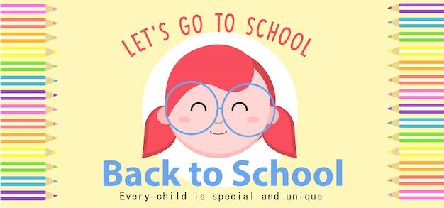 Banner de regreso a la escuela Vector Premium