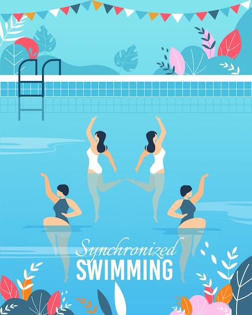 Banner con rendimiento de natación sincronizada de join Vector Premium