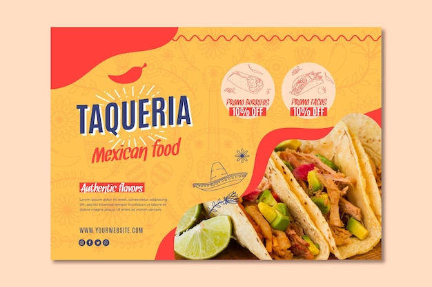 Banner de restaurante mexicano Vector Premium