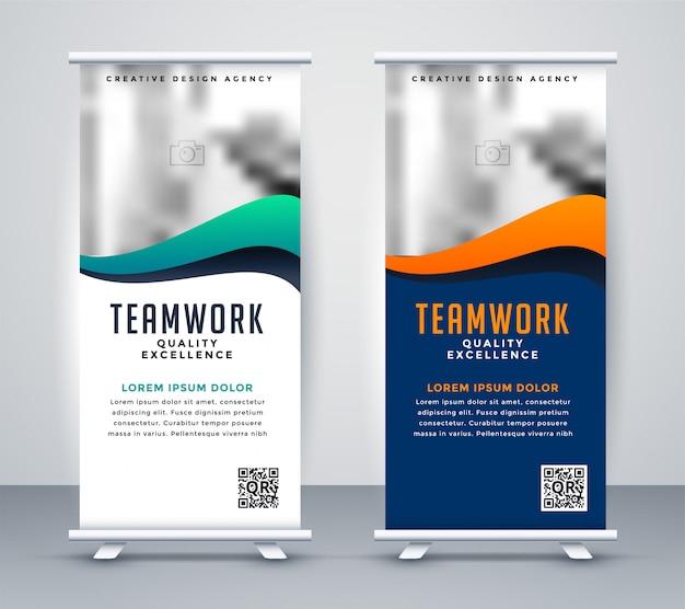 Banner de rollup standee moderno para marketing vector gratuito