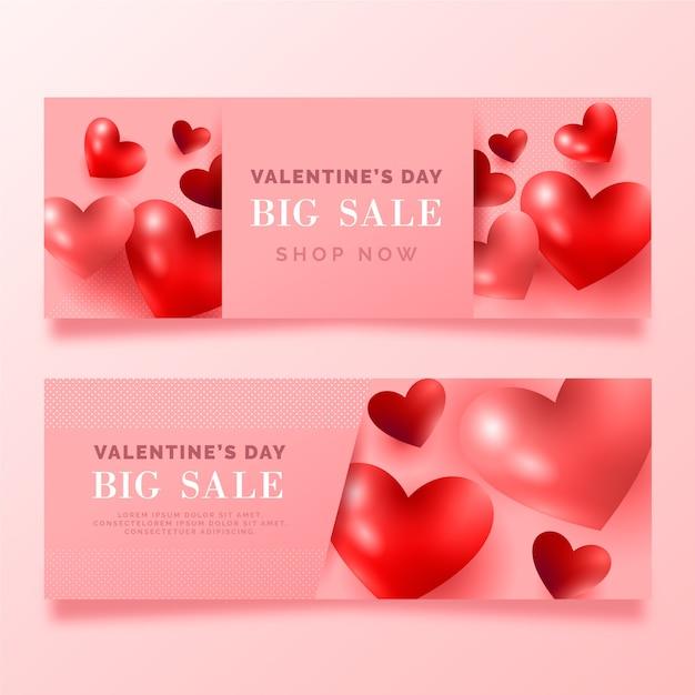Banner rosa de gran venta de san valentín vector gratuito