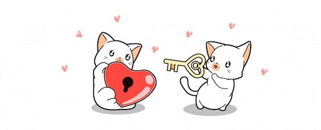 Banner saludo lindo gato está sosteniendo el bloqueo del corazón y otro gato está sosteniendo la llave Vector Premium