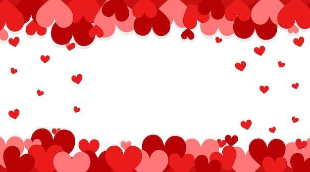 Banner de san valentín con corazones rojos vector gratuito