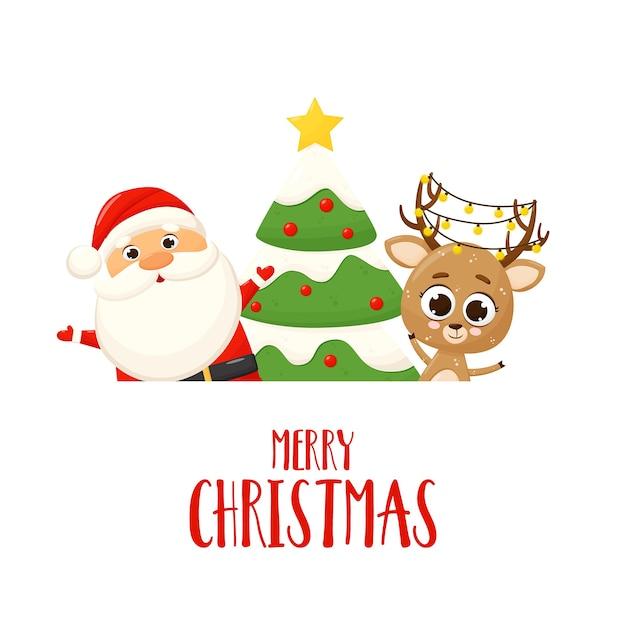 Banner con santa claus, ciervo, árbol de navidad y regalo Vector Premium