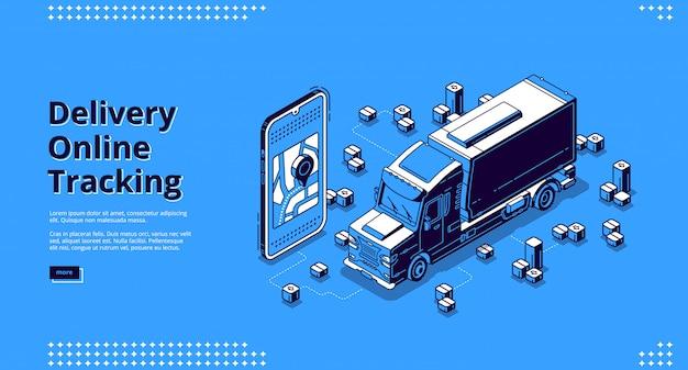 Banner de seguimiento en línea de entrega con camión vector gratuito