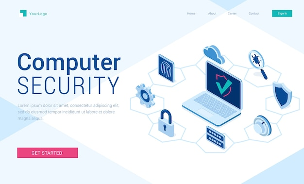 Banner de seguridad informática. concepto de tecnología de internet de seguridad, datos seguros. vector gratuito
