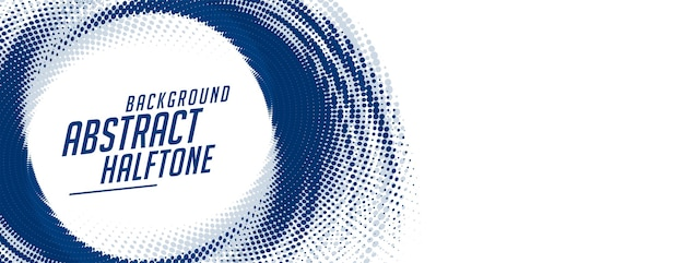 Banner de semitono de remolino abstracto azul sobre fondo blanco vector gratuito