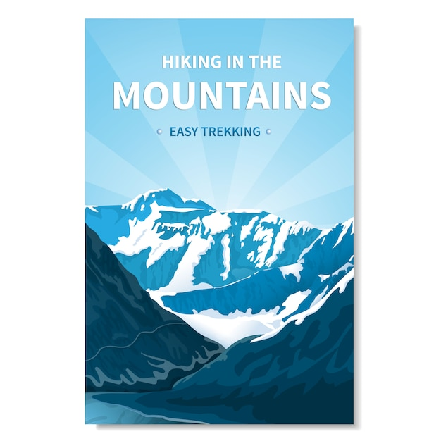 Banner de senderismo en las montañas Vector Premium