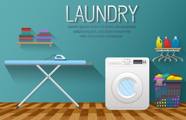 Banner de servicio de lavandería con elemento de la sala de lavandería Vector Premium